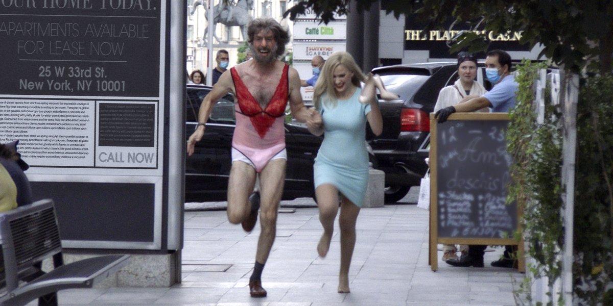 Sacha Baron Cohen and Maria Bakalova in Borat Subsequent Moviefilm