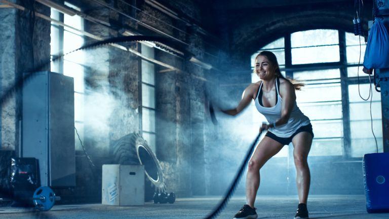 Woman doing an intense HIIT workout