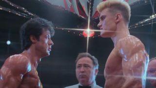 Sylvester Stallone and Dolph Lundgren in Rocky IV: Rocky vs. Drago.