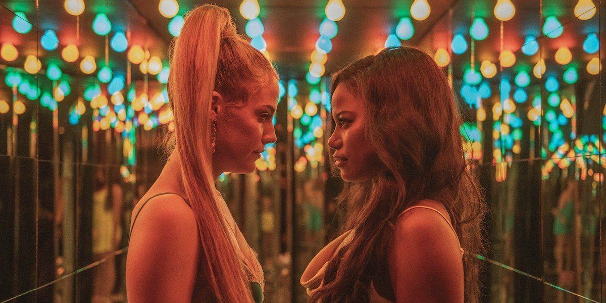 Riley Keough and Taylour Paige as Stefani and Zola in the A24 movie