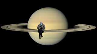 Bernie Sanders sits on Saturn's rings in this image from NASA's Cassini mission, which citizen scientist Kevin M. Gill edited to include Bernie Sanders.