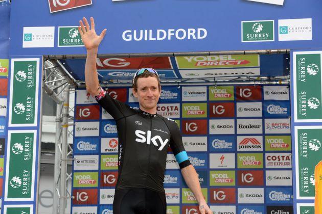 Bradley Wiggins on podium, Tour of Britain 2013, stage seven