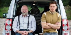 Outlander's Sam Heughan And Graham McTavish Are Awesome Road Trip Buddies For Men In Kilts Trailer