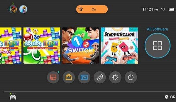 nintendo switch menu screen