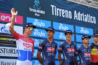 SENIGALLIA ITALY SEPTEMBER 12 Start Mathieu Van Der Poel of The Netherlands and Team AlpecinFenix Dries De Bondt of Belgium and Team AlpecinFenix Louis Vervaeke of Belgium and Team AlpecinFenix during the 55th TirrenoAdriatico 2020 Stage 6 a 171km stage from Castelfidardo to Senigallia TirrenAdriatico on September 12 2020 in Senigallia Italy Photo by Justin SetterfieldGetty Images