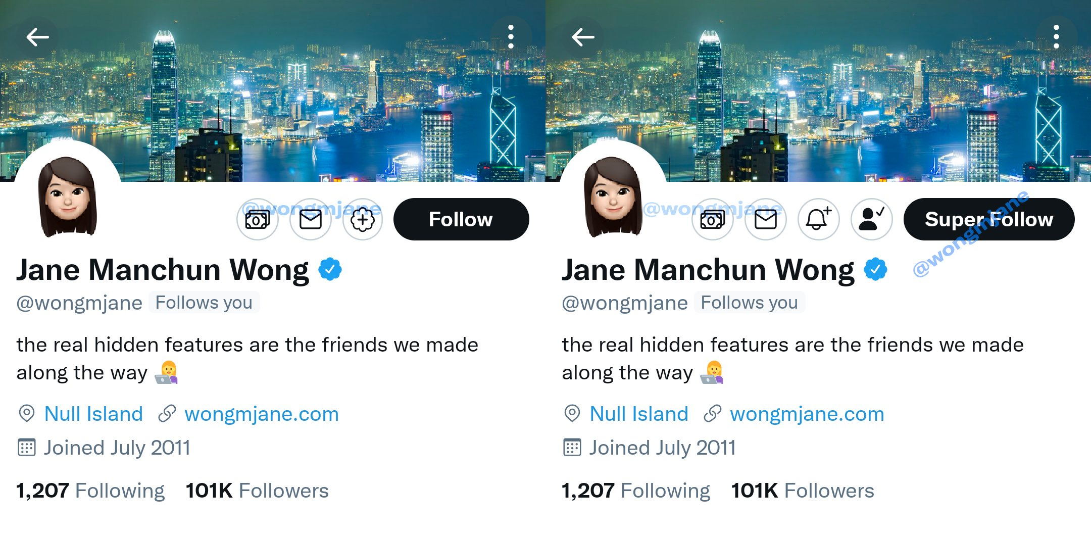 The screenshot of Twitter's new Super Follow feature as scooped by Jane Manchun Wong