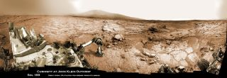 Mars Rover Curiosity Studying Outcrop