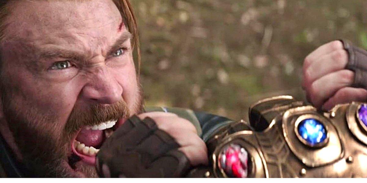 Steve Rogers screams fighting Thanos Avengers: Infinity War
