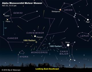 This map from Sky & Telescope shows the sky facing southeast from Philadelphia at 11:50 p.m. EST on Nov. 21, when the rare Alpha Monocerotid meteor shower will have a very brief outburst. Two Alpha Monocerotid radiants are marked, 1985 and 1995.