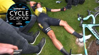 Wout Van Aert collapses, shattered, after his day-long efforts