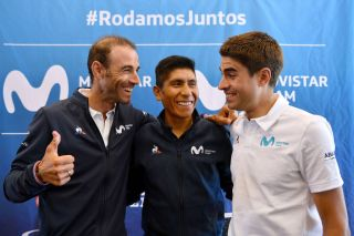Alejandro Valverde, Nairo Quintana, and Mikel Landa all smiles in Brussels