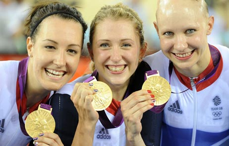 Dani King, Laura Trott and Joanna Rowsell, team pursuit gold, London 2012