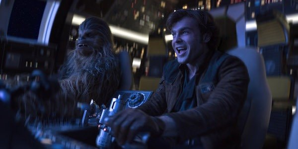 Han and Chewie in the Falcon