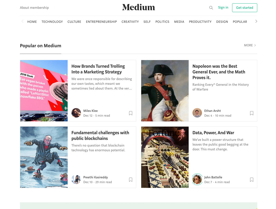 Screenshot of the Medium website