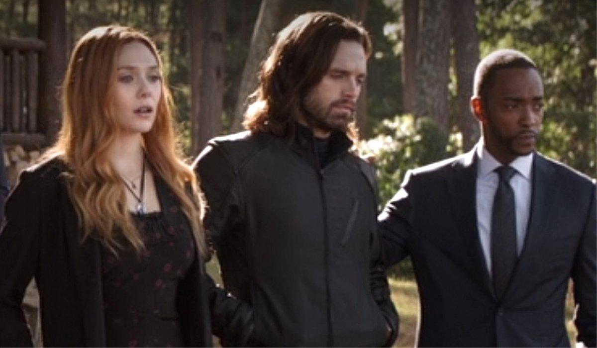 Wanda Bucky and Sam at Tony Stark's funeral Avengers: Endgame