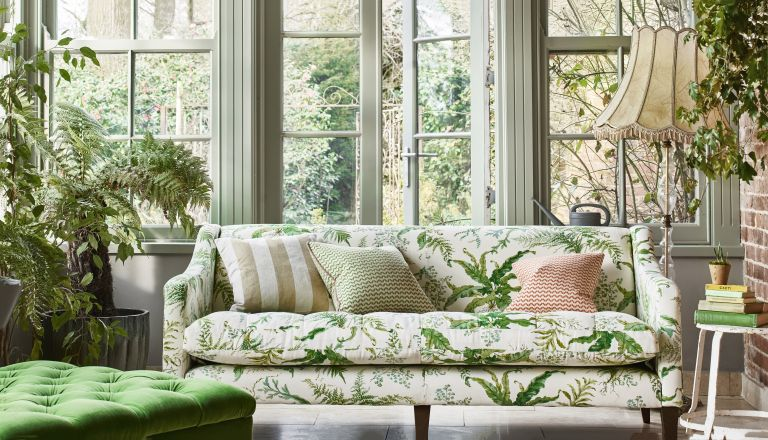 Chintz prints microtrend, botanical inspired living room