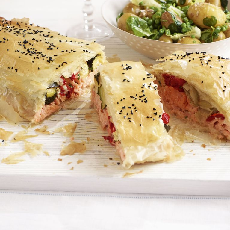 Salmon and Roasted Vegetables in Filo photo