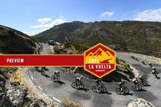 The peloton racing at the Vuelta a Espana