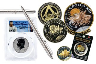 Apollo 13 50th anniversary memorabilia includes NASA medallions made with flown-to-the-moon metal, engraved space pens, signed coin sets, commemorative patches and lapel pins.