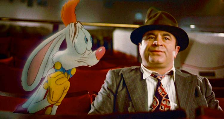 Who Framed Roger Rabbit Roger sitting next to Eddie as they hide out at the movies