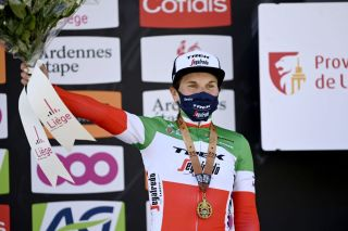 Elisa Longo Borghini (Trek-Segafredo) on the podium in Liege-Bastogne-Liege Femmes 2021