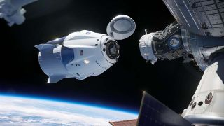 A SpaceX Dragon Capsule Docking With A Space Station with the Earth in the lower background