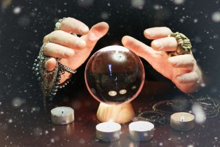 A fortune teller's crystal ball.