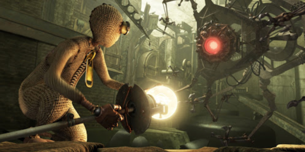 The heroic titular rag doll takes on his robot enemy in 9