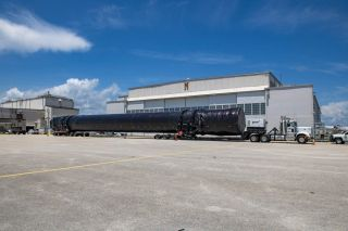The first stage of the SpaceX Falcon 9 rocket that will launch NASA's SpaceX Crew-1 mission arrived in Florida on Tuesday (July 14). The rocket was shipped from the SpaceX facility in McGregor, Texas.