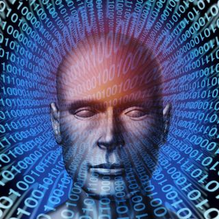 a human head and digital binary code background as a symbol of internet fraud and data protection from ID criminals.