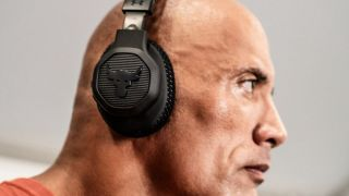The Rock wearing Under Armour Over-Ear Training Headphones