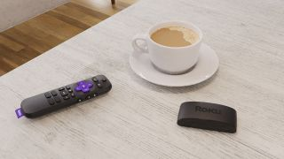 The 2021 Roku Express 4K+ as seen in a lovely press image