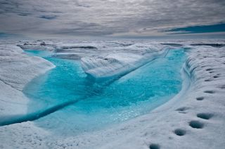 Meltwater in Greenland ice