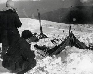 A view of the tent as the rescuers found it on Feb. 26, 1959. The tent had been cut open from inside, and most of the skiers had fled in socks or barefoot.