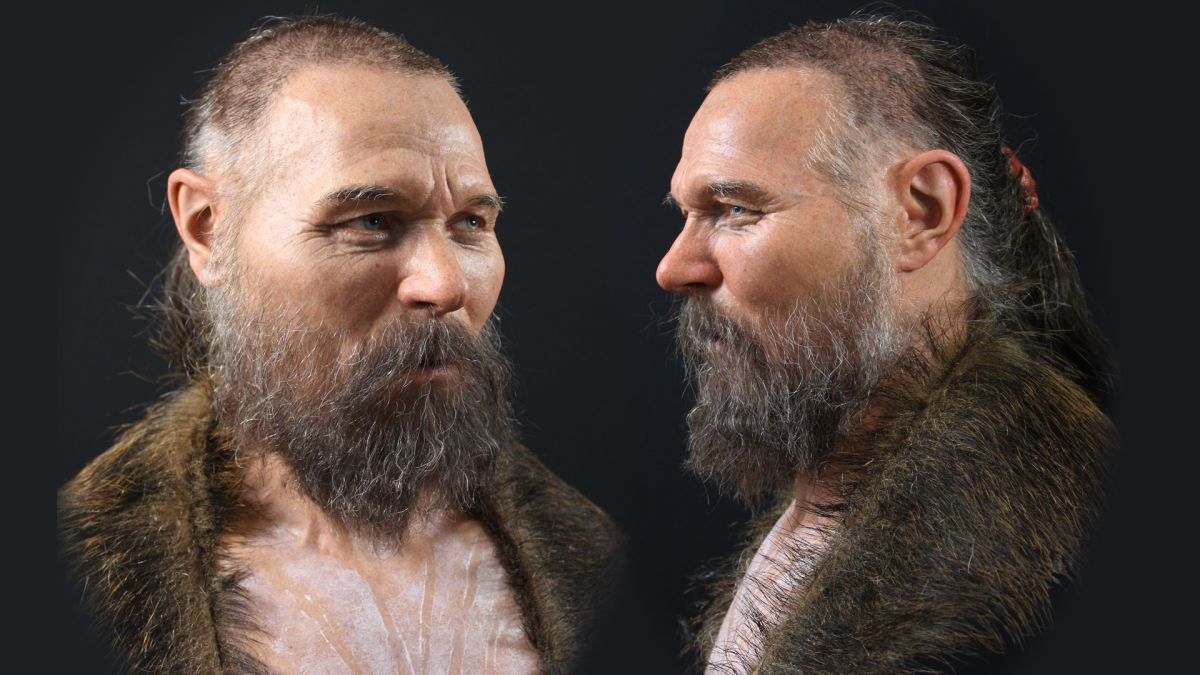 This Stone Age man's jawless skull was found on a spike. Here's what he looked like.