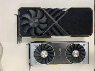 The GeForce RTX 3090 alongside a RTX 2080