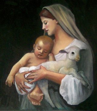 "Here, a copy of William Bouguereau's ""L'Innocence"" painting, depicting the Virgin Mary holding baby Jesus."
