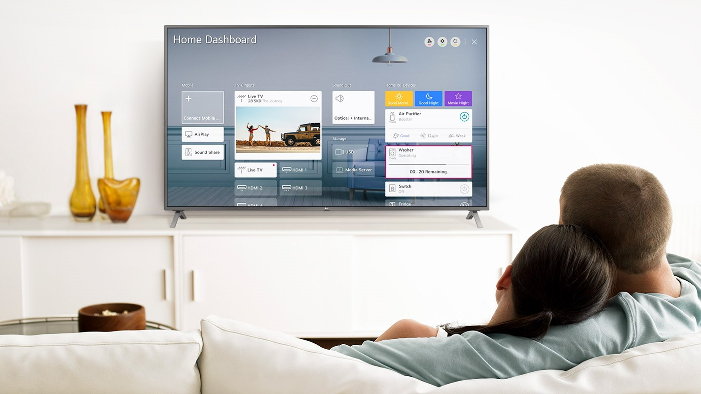 A view of a living room with an LG Nano 90