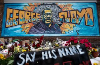 A memorial site where George Floyd died May 25 while in police custody, on June 1, 2020 in Minneapolis, Minnesota.