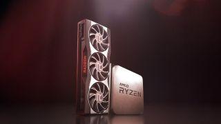 AMD RX 6000-series GPU next to render of a Ryzen CPU on dark red background