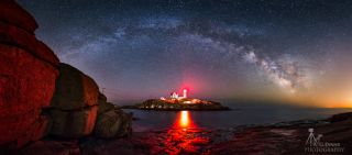 Nubble Lighthouse and Milky Way by Evans
