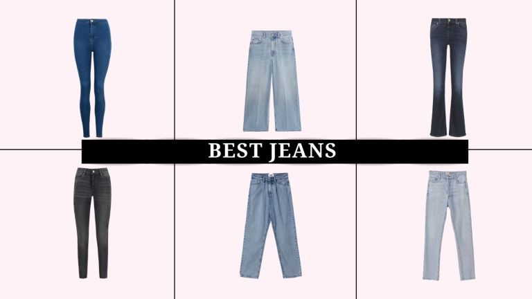 6 of the best jeans shot flat, from J Brand to ASOS and Paige, with the words best jeans overlayed