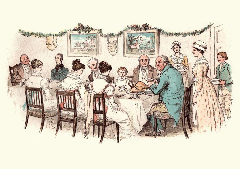 victorian christmas a family sat around a dinner table having Christmas dinner