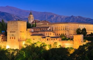the alhambra in granada spain at night time