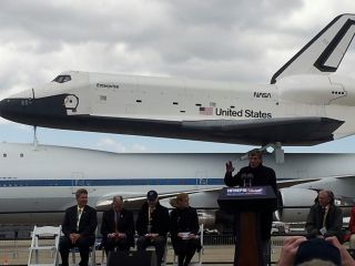 Leonard Nimoy talks about the space shuttle Enterprise on April 27, 2012
