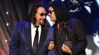 Ace Frehley and Gene Simmons at Kiss' Rock And Roll Hall Of Fame induction ceremony in 2014