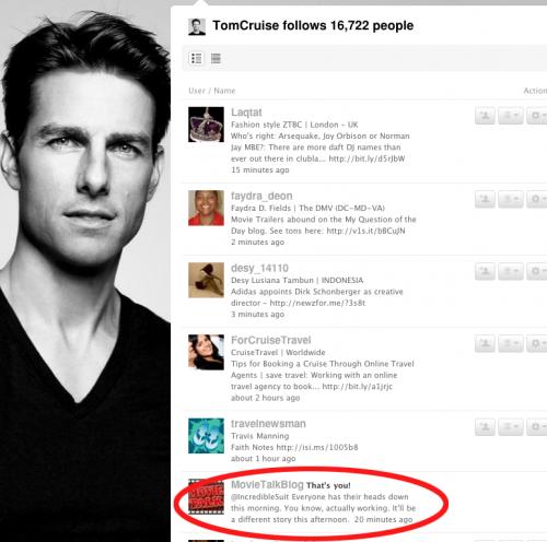Tom Cruise follows Movie Talk on Twitter