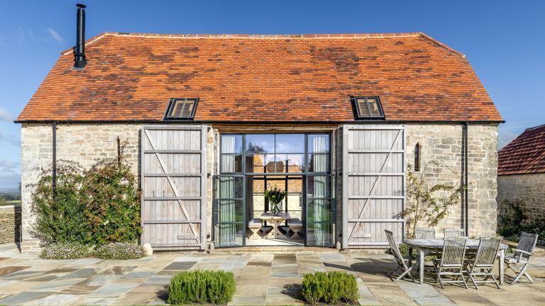 Exterior of 17th century barn in Dorset