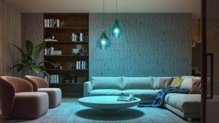 Philips Hue iluminando un salón de azul