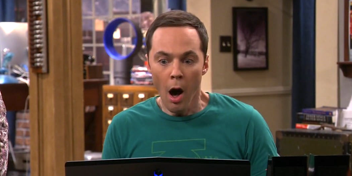 sheldon cooper shocked on computer